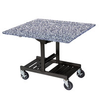 Geneva 74410 Mobile Rectangular Top Tri-Fold Room Service Table with Gray Sand Finish - 36 inch x 43 inch x 31 inch
