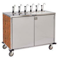 Lakeside 70271 Stainless Steel E-Z Serve 12-Pump Condiment Dispensing Cart with Victorian Cherry Finish for 3 Gallon Condiment Pouches - 27 1/2 inch x 50 1/4 inch x 48 1/2 inch