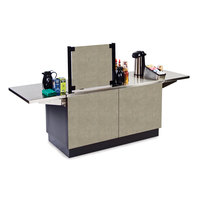 Lakeside 6120 Mobile Stainless Steel Coffee Kiosk with Beige Suede Laminate Finish - 96 1/4 inch x 30 inch x 56 inch