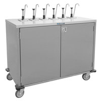 Lakeside 70211 Stainless Steel E-Z Serve 6-Pump Condiment Dispensing Cart for 3 Gallon Condiment Pouches - 27 1/2 inch x 50 1/4 inch x 48 1/2 inch
