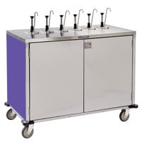 Lakeside 70271P Stainless Steel E-Z Serve 12-Pump Condiment Dispensing Cart with Purple Finish for 3 Gallon Condiment Pouches - 27 1/2 inch x 50 1/4 inch x 48 1/2 inch
