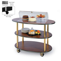 Geneva 36303 3 Oval Shelf Table Side Service Cart with Acrylic Roll Top Dome and Pewter Brush Finish - 23 inch x 44 inch x 44 1/4 inch