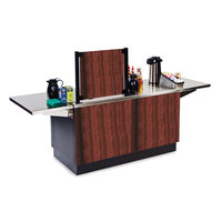 Lakeside 6120 Mobile Stainless Steel Coffee Kiosk with Red Maple Laminate Finish - 96 1/4 inch x 30 inch x 56 inch