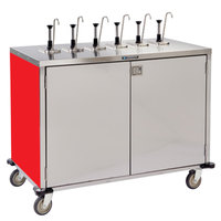 Lakeside 70271 Stainless Steel E-Z Serve 12-Pump Condiment Dispensing Cart with Red Finish for 3 Gallon Condiment Pouches - 27 1/2 inch x 50 1/4 inch x 48 1/2 inch