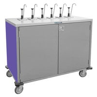 Lakeside 70221 Stainless Steel E-Z Serve 4-Pump Condiment Dispensing Cart with Purple Finish for 3 Gallon Condiment Pouches - 27 1/2 inch x 33 inch x 48 1/2 inch