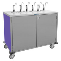 Lakeside 70221P Stainless Steel E-Z Serve 4-Pump Condiment Dispensing Cart with Purple Finish for 3 Gallon Condiment Pouches - 27 1/2 inch x 33 inch x 48 1/2 inch
