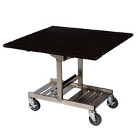 Geneva 74410SEW Mobile Rectangular Top Tri-Fold Room Service Table with Stainless Steel Frame and Ebony Wood Finish - 36 inch x 43 inch x 31 inch