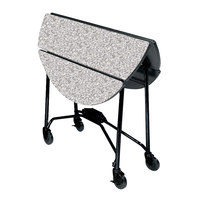 Lakeside 415 Mobile Round Top Fold-Up Room Service Table with Gray Sand Finish - 22 1/4 inch x 40 inch x 30 inch