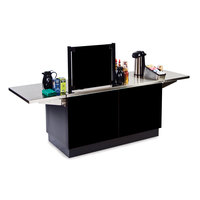 Lakeside 6120 Mobile Stainless Steel Coffee Kiosk with Black Laminate Finish - 96 1/4 inch x 30 inch x 56 inch