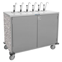 Lakeside 70221GS Stainless Steel E-Z Serve 4-Pump Condiment Dispensing Cart with Gray Sand Finish for 3 Gallon Condiment Pouches - 27 1/2 inch x 33 inch x 48 1/2 inch