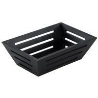 American Metalcraft TWBREC 9 1/4 inch x 6 1/4 inch Rectangular Tapered Birch Bread Basket