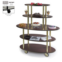 Geneva 37212 5 Oval Shelf Dessert Cart with Gray Sand Finish - 24 inch x 50 inch x 56 inch
