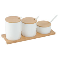 American Metalcraft PCBLS25 Round Porcelain Canisters and Bamboo Tray with Lids and Spoons