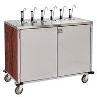 Lakeside 70271RM Stainless Steel E-Z Serve 12-Pump Condiment Dispensing Cart with Red Maple Finish for 3 Gallon Condiment Pouches - 27 1/2 inch x 50 1/4 inch x 48 1/2 inch