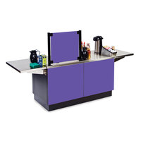 Lakeside 6120 Mobile Stainless Steel Coffee Kiosk with Purple Laminate Finish - 96 1/4 inch x 30 inch x 56 inch