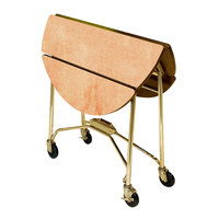 Lakeside 415G Mobile Round Top Fold-Up Room Service Table with Hard Rock Maple Finish - 22 1/4 inch x 40 inch x 30 inch