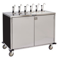 Lakeside 70271B Stainless Steel E-Z Serve 12-Pump Condiment Dispensing Cart with Black Finish for 3 Gallon Condiment Pouches - 27 1/2 inch x 50 1/4 inch x 48 1/2 inch