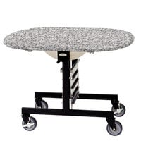 Geneva 74405GS Mobile Round Top Tri-Fold Room Service Table with Gray Sand Finish - 36 inch x 43 inch x 31 inch