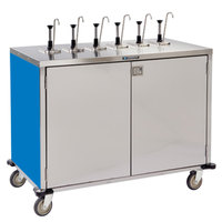 Lakeside 70271BL Stainless Steel E-Z Serve 12-Pump Condiment Dispensing Cart with Royal Blue Finish for 3 Gallon Condiment Pouches - 27 1/2 inch x 50 1/4 inch x 48 1/2 inch