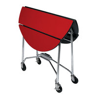 Lakeside 415RD Mobile Round Top Fold-Up Room Service Table with Red Finish - 22 1/4 inch x 40 inch x 30 inch