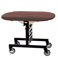 Geneva 74405RM Mobile Round Top Tri-Fold Room Service Table with Red Maple Finish - 36 inch x 43 inch x 31 inch
