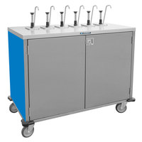 Lakeside 70221 Stainless Steel E-Z Serve 4-Pump Condiment Dispensing Cart with Royal Blue Finish for 3 Gallon Condiment Pouches - 27 1/2 inch x 33 inch x 48 1/2 inch