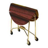 Lakeside 415 Mobile Round Top Fold-Up Room Service Table with Red Maple Finish - 22 1/4 inch x 40 inch x 30 inch