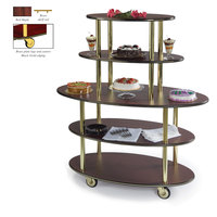 Geneva 37212 5 Oval Shelf Dessert Cart with Red Maple Finish - 24 inch x 50 inch x 56 inch