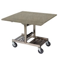 Geneva 74410SBS Mobile Rectangular Top Tri-Fold Room Service Table with Stainless Steel Frame and Beige Suede Finish - 36 inch x 43 inch x 31 inch