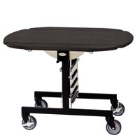 Geneva 74405 Mobile Oval Top Tri-Fold Room Service Table with Ebony Wood Finish - 36 inch x 43 inch x 31 inch