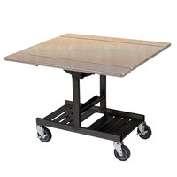 Geneva 74410 Mobile Rectangular Top Tri-Fold Room Service Table with Maple Finish - 36 inch x 43 inch x 31 inch