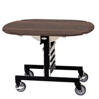 Geneva 74405SW Mobile Oval Top Tri-Fold Room Service Table with Mahogany Finish - 36 inch x 43 inch x 31 inch