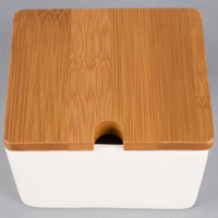 American Metalcraft SPCBL10 10 oz. Square Porcelain Canister and Lid