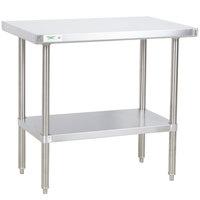 "Regency 24"" x 36"" All 18-Gauge 430 Stainless Steel Commercial Work Table with Undershelf"