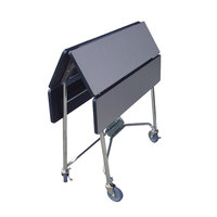 Lakeside 416 Mobile Square Top Fold-Up Room Service Table with Gray Sand Finish - 22 1/4 inch x 36 inch x 30 inch