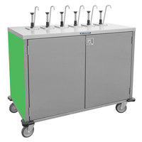 Lakeside 70221G Stainless Steel E-Z Serve 4-Pump Condiment Dispensing Cart with Green Finish for 3 Gallon Condiment Pouches - 27 1/2 inch x 33 inch x 48 1/2 inch