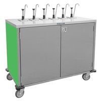 Lakeside 70221 Stainless Steel E-Z Serve 4-Pump Condiment Dispensing Cart with Green Finish for 3 Gallon Condiment Pouches - 27 1/2 inch x 33 inch x 48 1/2 inch