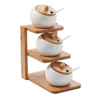 American Metalcraft PCBLS19 Porcelain Canisters, Lids, Spoons, and Rack