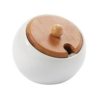 American Metalcraft PCBL6 6.5 oz. Porcelain Canister and Bamboo Lid