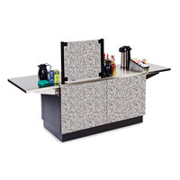 Lakeside 6120 Mobile Stainless Steel Coffee Kiosk with Gray Sand Laminate Finish - 96 1/4 inch x 30 inch x 56 inch