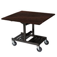Geneva 74410 Mobile Rectangular Top Tri-Fold Room Service Table with Mahogany Finish - 36 inch x 43 inch x 31 inch