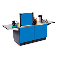 Lakeside 6120 Mobile Stainless Steel Coffee Kiosk with Royal Blue Laminate Finish - 96 1/4 inch x 30 inch x 56 inch