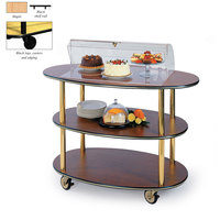 Geneva 36303-03 3 Oval Shelf Table Side Service Cart with Acrylic Roll Top Dome and Maple Finish - 23 inch x 44 inch x 44 1/4 inch