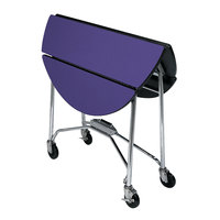 Lakeside 415 Mobile Round Top Fold-Up Room Service Table with Purple Finish - 22 1/4 inch x 40 inch x 30 inch