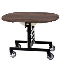 Geneva 74405 Mobile Round Top Tri-Fold Room Service Table with Mahogany Finish - 36 inch x 43 inch x 31 inch
