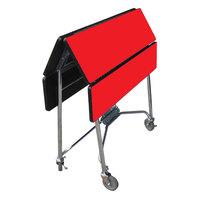 Lakeside 416RD Mobile Square Top Fold-Up Room Service Table with Red Finish - 22 1/4 inch x 36 inch x 30 inch