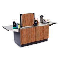 Lakeside 6120 Mobile Stainless Steel Coffee Kiosk with Victorian Cherry Laminate Finish - 96 1/4 inch x 30 inch x 56 inch