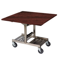 Geneva 74410SRM Mobile Rectangular Top Tri-Fold Room Service Table with Stainless Steel Frame and Red Maple Finish - 36 inch x 43 inch x 31 inch