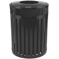 Rubbermaid FGMH46 Avenue Open-Top Black Round Steel Waste Receptacle with Rigid Plastic Liner 37 Gallon (FGMH46PLBK)
