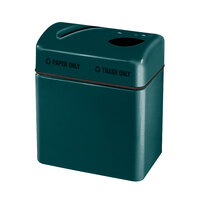 Rubbermaid FGR2416 Recycling Centers Hunter Green Fiberglass 2-Section Paper/Trash Recycling Center with Rigid Plastic Liner (2) 16 Gallon (FGFGR2416TPPLHGN)